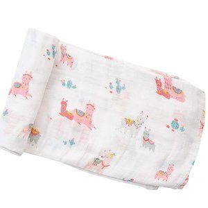 NWT Angel Dear Swaddle Blanket Pink Llama Muslin